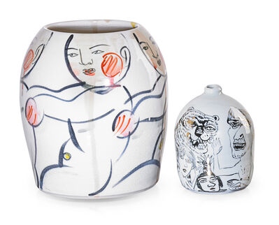 Sunkoo Yuh, 'Two vases with figures and tiger'