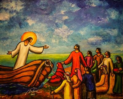 Francisco Borboa, 'Jesus Preaching from the Boat 耶穌從船上教導'