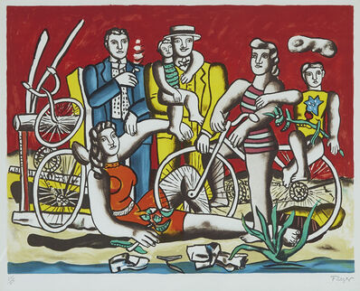 Fernand Léger, 'Les Loisirs Sur Fond Rouge (Leisure With Red Background)', 1949