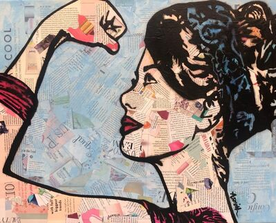 Amy Smith, 'Strong Blue Small - Street Art of Rosie the Riveter Collage', 2019