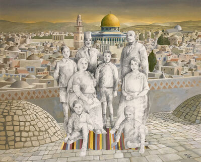 Sliman Mansour, 'A Family without a Shadow', 2018