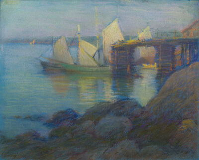 William Partridge Burpee, 'BOATS IN MAINE HARBOR'