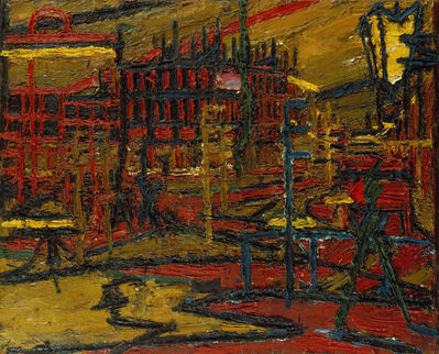 Frank Auerbach, 'Mornington Crescent with the statue of Sickert's father in law', 1966