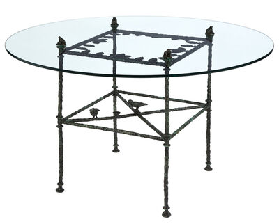 Diego Giacometti, 'Patinated Bronze Dining Table with Leaves, Birds and Frogs', circa 1980