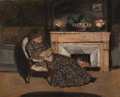 Albert André, 'Malek, épouse du peintre dans son fauteuil avec son chat', Unknown