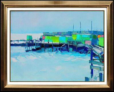 Nicola Simbari, 'Nicola SIMBARI Painting Oil On Canvas Signed Harbor Seascape Artwork Rare Large', 20th Century