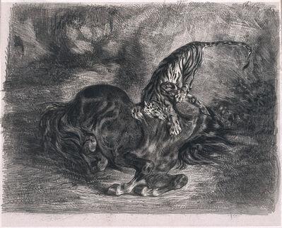 Eugène Delacroix, 'Cheval sauvage terrassé par un tigre (Wild Horse Felled by a Tiger)', 1828