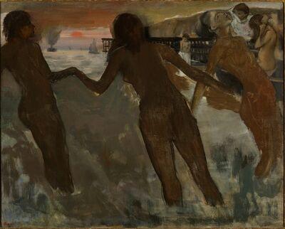 Edgar Degas, 'Peasant Girls bathing in the Sea at Dusk', 1869-1875