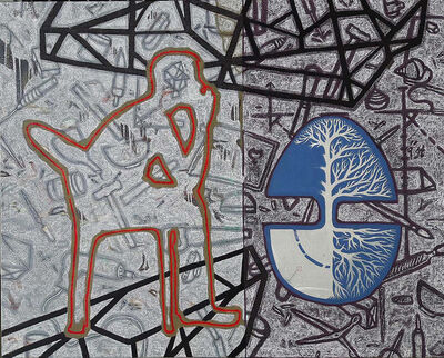 """Arun Bain, 'The Tree, Pastel, Earth color, Acrylic Painting, Blue, Black, Red, Brown by Contemporary Indian Artist """"In Stock""""', 2017"""
