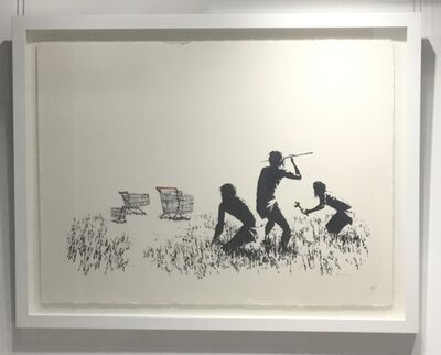 Banksy, 'Trolley Hunters (Black and White) SIGNED', 2007