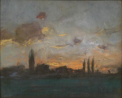 J. Frank Currier (Joseph Frank Currier), 'Twilight in Schleissheim', ca. 1880