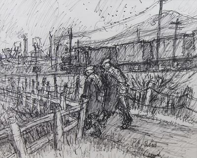 Norman Cornish, 'Pit road with trucks', ca. 1970