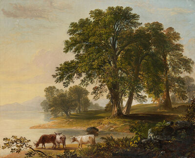 Asher B. Durand, 'Pastoral Scene at Lake's Edge'