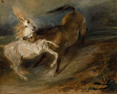 Eugène Delacroix, 'Two Horses Fighting in a Stormy Landscape', ca. 1828
