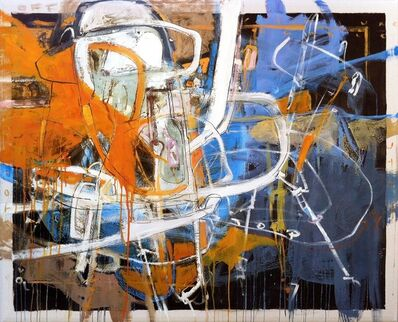 """Santiago Garcia, '""""#2"""" Abstract oil painting with orange, blue, white and black', 2012"""