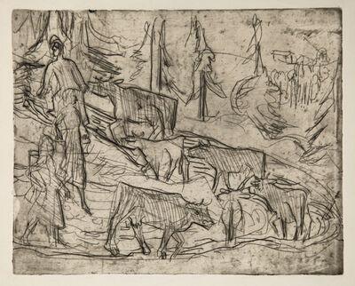 Ernst Ludwig Kirchner, 'Abtreibende Kühe (Cows)', 1922