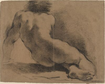 Guercino, 'Seated Nude Boy Seen from the Back'