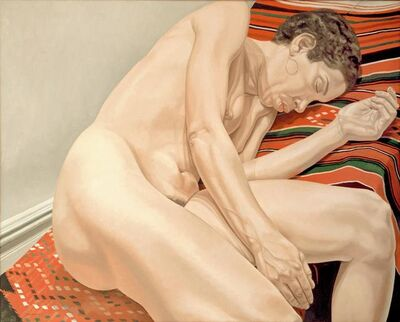 Philip Pearlstein, 'FEMALE MODEL RECLINING ON INDIAN RUG', 1974