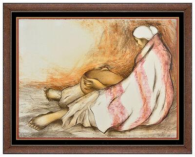 R.C. Gorman, 'RC Gorman Original Color Lithograph Hand Signed Native American Woman Bowl Art', 20th Century