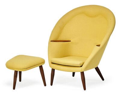 Nanna Ditzel, 'Oda lounge chair and ottoman, Denmark', 1950s