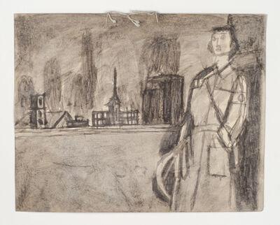 James Castle, 'Untitled (Uniformed figure in landscape)', n.d.