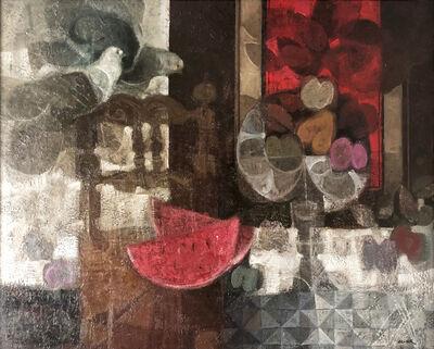 Alvar Sunol, 'Taula, cadira i coloms', ca. 1990