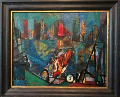 Irving George Lehman, 'Constructivist Steelworker, Rare WPA oil painting, Manhattan NYC', 1940-1949