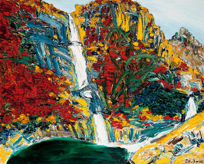 Sa Sukwon, 'Blue Water on Bibong Waterfall Tints a Person's Cloth in Autumn', 2006