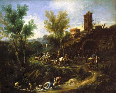 Alessandro Magnasco, called il Lissandrino, 'Landscape with Gypsies and Washerwomen', about 1705-1710