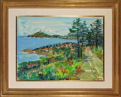 Yolande Ardissone, 'Original Painting Gouache on Paper Shoreline With Trees', 1973