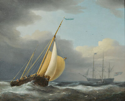 Attributed to Dominic Serres, 'Coastal Shipping in Rough Seas'