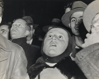 Weegee, 'Crowd watching results of Pres. Franklin Delano Roosevelt's reelection, Times Square, NYC.', 1944
