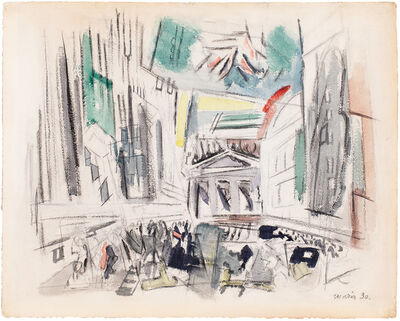 John Marin (1870-1953), 'Movement Broad St. N.Y.C (aka Downtown-Vicinity of Wall St.)', 1930