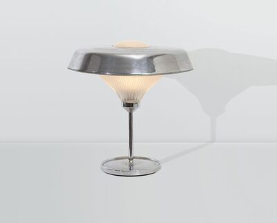 Studio BBPR, 'a Ro table lamp with a nickeled brass structure and a printed glass shade', 1970