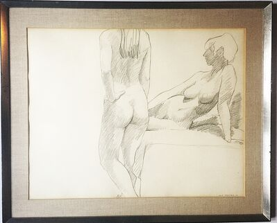 Philip Pearlstein, 'Untitled drawing of two nudes', 1967