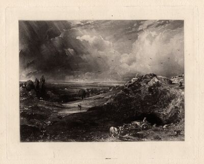 John Constable, 'A Heath (Hampstead Heath, Stormy Noon - Sand Diggers)', 1830