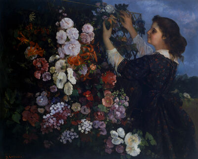 Gustave Courbet, 'The Trellis, or Young Woman arranging Flowers', 1862