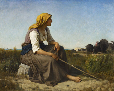 Jules Breton, 'THE TURKEY TENDER (GARDEUSE DE DINDONS)', 1864