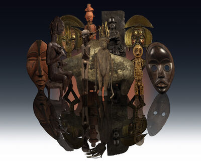 Ken Gonzales-Day, 'Africa: (left) Republic of Congo, Mask; Mali, Mother and Child for the Gwan Assoc.; Kota Peoples, Obamba or Mindumu groups, Janus Reliquary Guardian Figure; Republic of the Congo, Figure of Hunter; Nigeria, Plaque; Republic of Congo, Figure; Liberia, Mask; (center) Indonesia, Magical Figure of the Toba Bakat, (Louvre); Cote d'Ivoire, Fetish Figure; Republic of Mali, Boli (Komo Society Altar) (all LACMA)', 2019