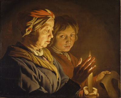 Matthias Stom, 'An Old Woman and a Boy by Candlelight', 1620s
