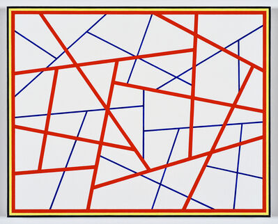 Cary Smith, 'Straight Lines #22 (red-blue with black-yellow border)', 2019
