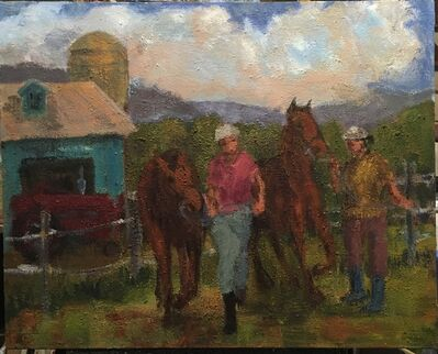 Simon Carr, 'Horses, Farmall, Barn', 2020