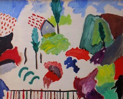 Aristodimos Kaldis, 'Landscape with Cypress and Fence', 1970