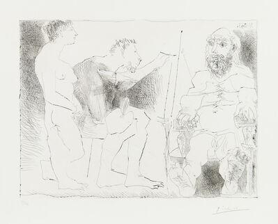 Pablo Picasso, 'PEINTRE AU TRAVAIL (Peintre avec un modèle barbu et une spectatrice)', 1963