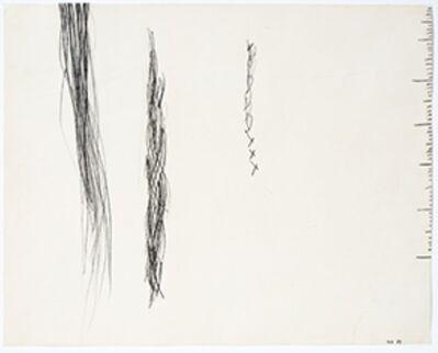 Monika Brandmeier, '3 ohne Titel (Striche, Haare, Zopf, Skala)', 1989