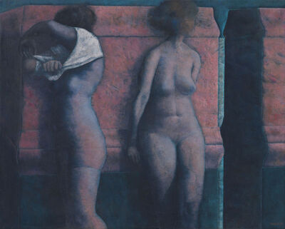Armando Morales, 'Two Nudes Against a Red Wall', 1981