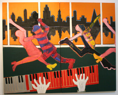 Joan Brown, 'Dancers in a City #4', 1973