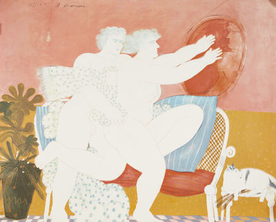 Alekos Fassianos, 'Untitled, two nudes with a mirror'
