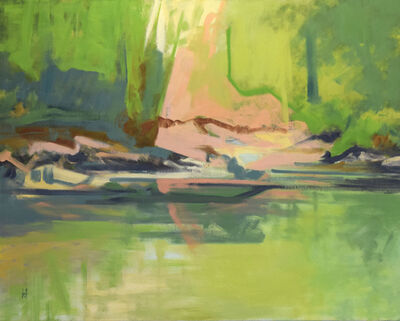 Harold Joiner, 'Lagoon in the Canyon - waterscape, river, reflections, trees, green, yellow, pink, pool, lake', 2018