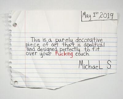 Michael Scoggins, 'Decorative Piece (Red Fuck)', 2019